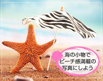海の小物でビーチ感満載の写真にしよう