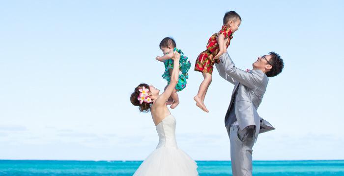 家族でのビーチフォト